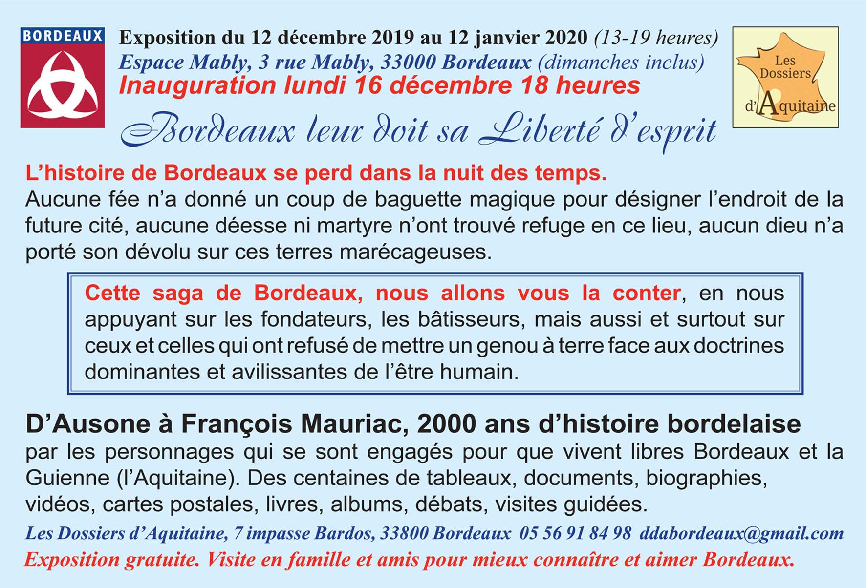 Exposition – Bordeaux leur doit sa Liberté d'esprit – Espace Mably