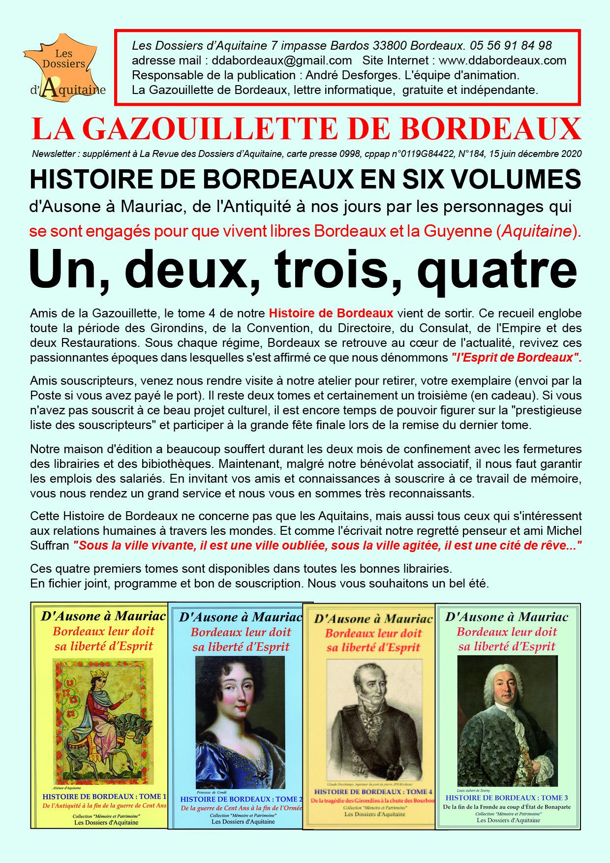 Un, deux, trois, quatre, Histoire de Bordeaux en six volumes