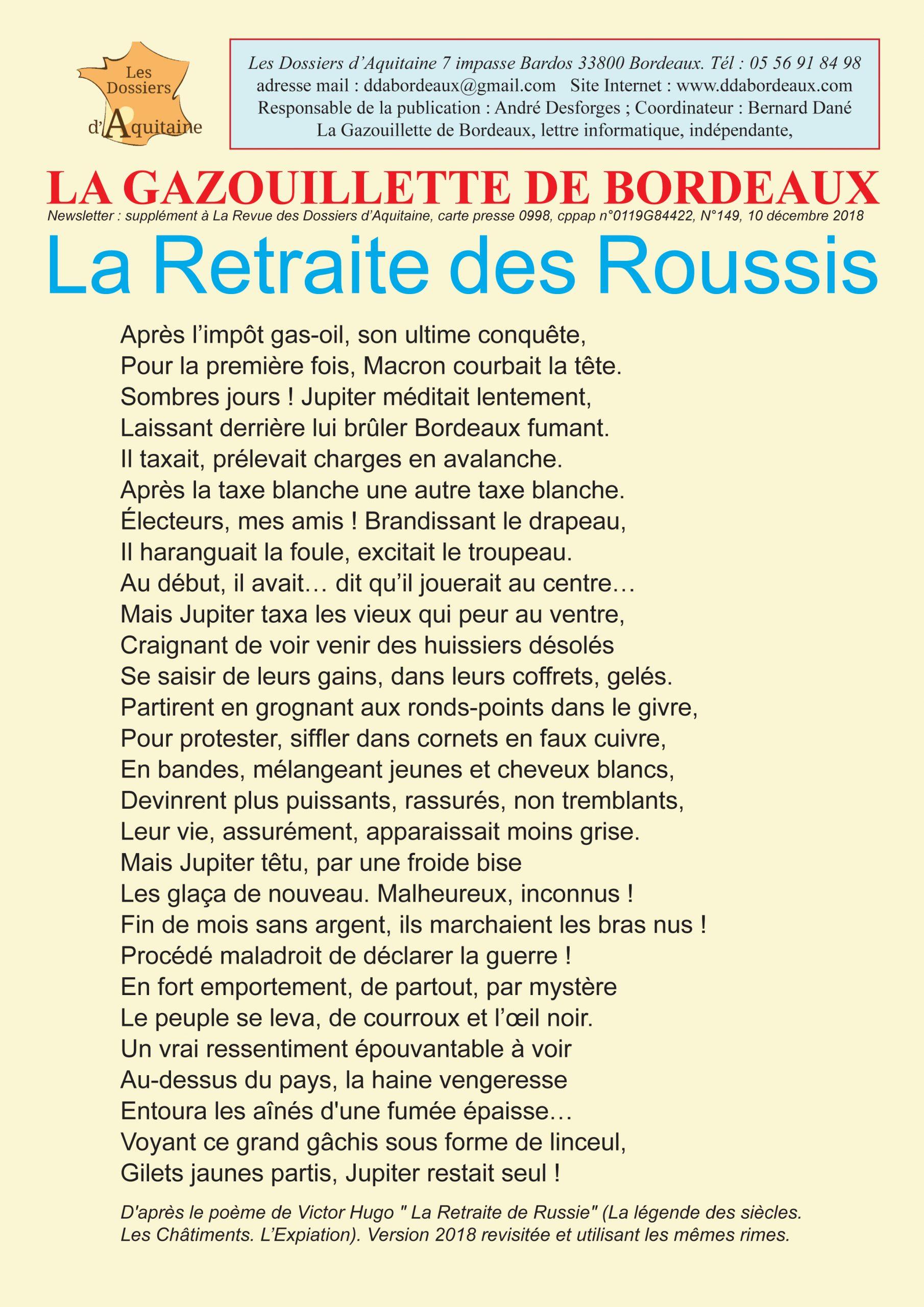 Gazouillette 149 du 10/12/2018 La retraite des Roussis